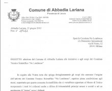Adesione della Giunta comunale della Città di Abbadia Lariana alle iniziative e agli scopi del Comitato Tecnico Scientifico