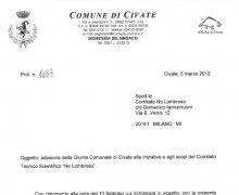 Adesione della Giunta comunale della Città di Civate alle iniziative e agli scopi del Comitato Tecnico Scientifico