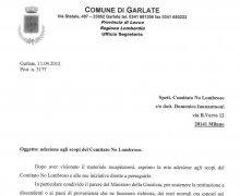 Adesione della Giunta comunale della Città di Garlate alle iniziative e agli scopi del Comitato Tecnico Scientifico
