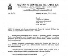 Adesione della Giunta comunale della Città di Mandello del Lario alle iniziative e agli scopi del Comitato Tecnico Scientifico