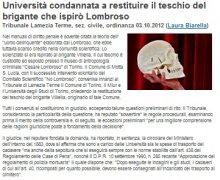 Università condannata a restituire il teschio del brigante che ispirò Lombroso