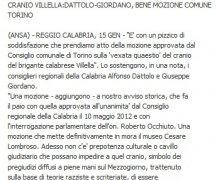 CRANIO VILLELLA:DATTOLO-GIORDANO, BENE MOZIONE COMUNE TORINO