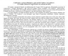 Il Consiglio comunale di Napoli in linea con i principi del diritto