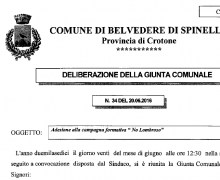 La Città di Belvedere di Spinello (KR) è Testimonial del Comitato No Lombroso