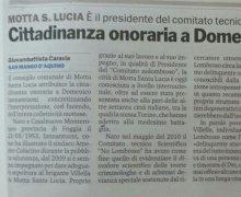 Motta S. Lucia (CZ) Conferisce la cittadinanza onoraria a Domenico Iannantuoni