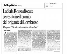 La Sala Rossa discute se restituire il cranio del brigante di Lombroso