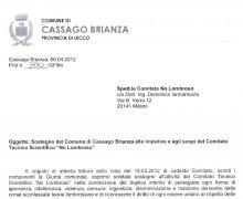 Adesione della Giunta comunale della Città di Cassago Brianza alle iniziative e agli scopi del Comitato Tecnico Scientifico