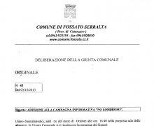 La Città di Fossato Serralta (CZ) ha aderito al Comitato No Lombroso