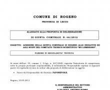 Adesione della Giunta comunale della Città di Rogeno (LC) alle iniziative e agli scopi del Comitato Tecnico Scientifico