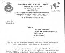 Adesione della Giunta comunale della Città di San Pietro Apostolo alle iniziative e agli scopi del Comitato Tecnico Scientifico