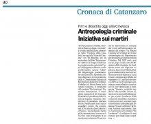 Antropologia criminale, iniziativa sui martiri...