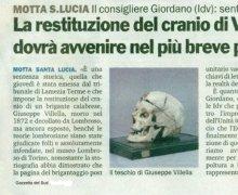 La restituzione del cranio di Giusepep Villella dovrà avvenire nel più breve periodo