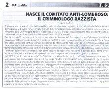 Nasce  il Comitato No Lombroso: il criminologo razzista