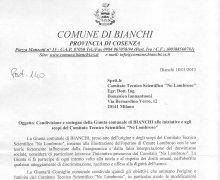 Comune di Bianchi, lettera di condivisione d'intenti
