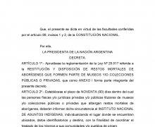 L'Argentina Rende operativo il Decreto N° 25517