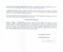 Adesione della Città di Napoli agli scopi del Comitato No Lombroso