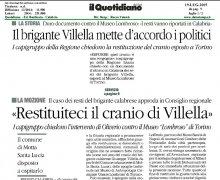 Il brigante Villella mette d'accordo i politici: Restituiteci il cranio di Villella
