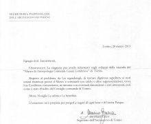 Comunicazione di Mons. Cesare Nosiglia, Arcivescovo Metropolita di Torino