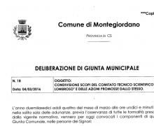 La Città di Montegiordano è Testimonial del Comitato No Lombroso