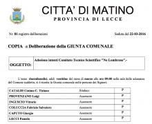 La Città di Matino (LE) è Testimonial del Comitato No Lombroso