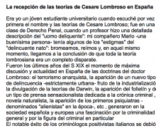 La recepción de las teorías de Cesare Lombroso en España