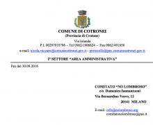 La città di Cotronei è Testimonial del Comitato No Lombroso