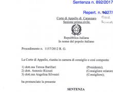 Sentenza d'Appello di Catanzaro che ribalta l'Ordinanza di Primo Grado