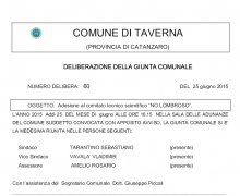 La Città di Taverna è Testimonial del Comitato No Lombroso