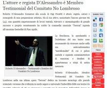 L'attore e regista D'Alessandro è Membro Testimonial del Comitato No Lombroso